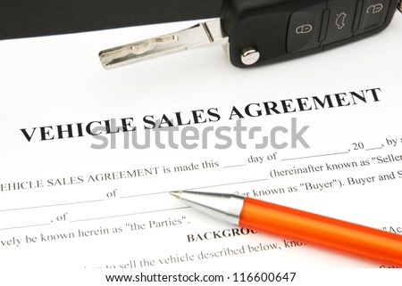 Agreement Document Contract Sale Motor Vehicle Stock Photo