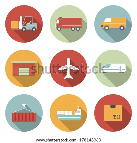 Vehicle, transport and logistics flat icons. Raster version