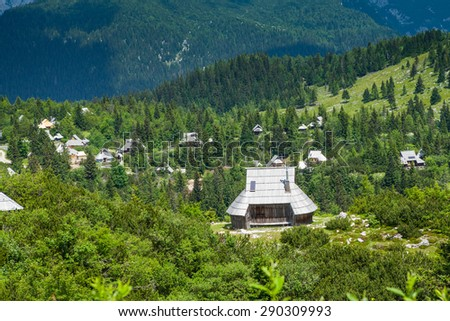 Velika Planina, Slovenia. Traditional village of mountain houses