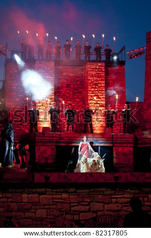 "VELIKO TARNOVO, BULGARIA - 21 JULY: Opera Attila by Guiseppe Verdi is performed during Summer festival ""Stage of the Ages"" Tsarevets fortress, July 31, 2011 in Veliko Tarnovo, Bulgaria."