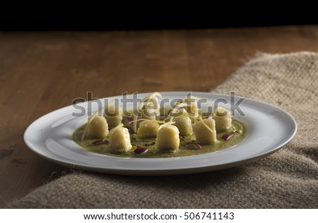 velvety green peas with dumpling, lemon and radicchio