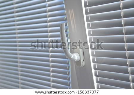 Drawn Blinds Office Window Evening Sun Stock Photo