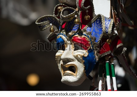venetian mask for sale in street market