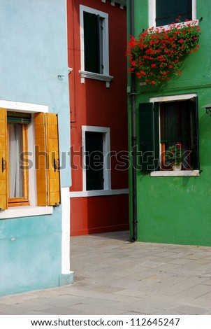 Venice, Burano, Colourful houses