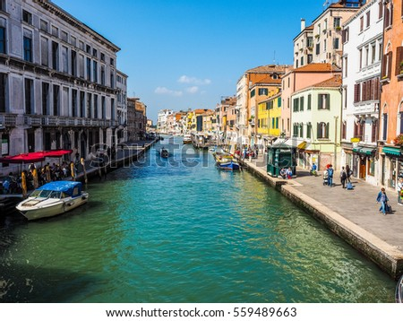 VENICE, ITALY - CIRCA SEPTEMBER 2016: HDR View of the city of Venice from the canal