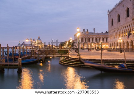 Venice, Italy. January 25. 2015. Evening View of Doges Palace  and Canal.
