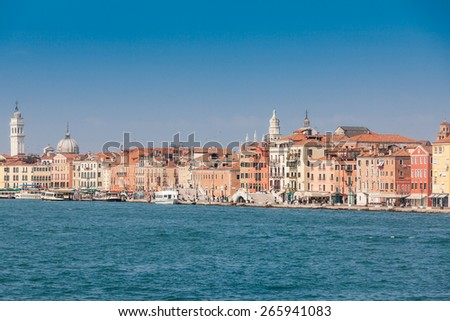 VENICE, ITALY - OCTOBER 2: Buildings at the Schiavoni Promenade near Piazza San Marco square in Venice, Italy on October 2, 2009. Its one of the most important promenades of Venice.