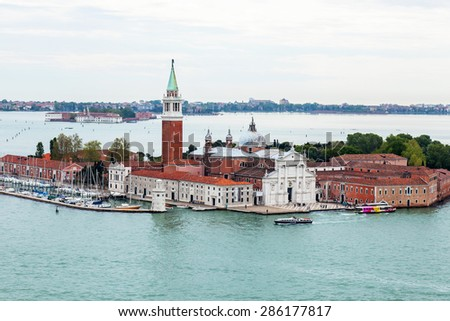 VENICE, ITALY - on APRIL 30, 2015. The top view from San Marco kampanilla on San Giorgio's island