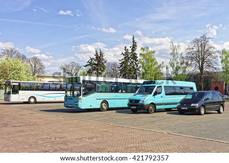 Ventspils, Latvia - May 8, 2016: Bus terminal in Ventspils in Latvia. Ventspils is a town in Courland region of Latvia. Latvia is one of the Baltic countries.