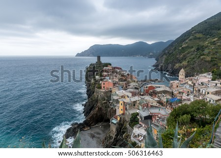 VERNAZZA, ITALY - October 24, 2016 :Colorful buildings in Vernazza one of the four villages from Cinque Terre in Italy