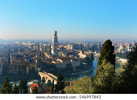 Verona amazing viewpoint on city and river, Panorama Italy