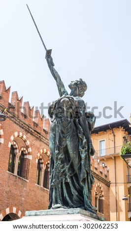 VERONA, ITALY - JUNE 3: Sculpture at the Piazza delle Erbe in Verona, Italy - June 3, 2015. Verona is famous for its ancient amphitheatre which could host more than 30,000 spectators in ancient times.