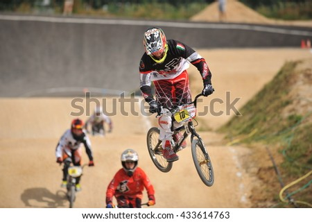 "VERONA, ITALY - MARCH 26: Unidentified BMX rider on March 26, 2016 in Verona, Italy. This competition included young riders from many European countries at the ""BMX Olympic Arena"" in Verona."
