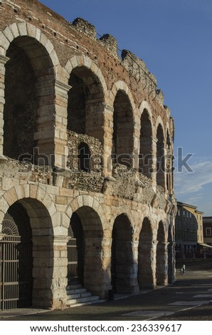 VERONA, ITALY - NOVEMBER 20: Ancient roman Arena in the center of Verona, Italy on November 20, 2014