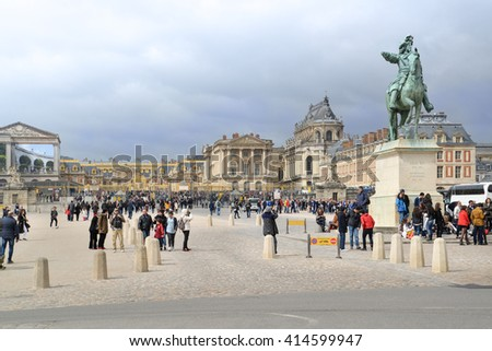 Versailles, France - March 31, 2015: Many tourists come to visits Versailles Palace