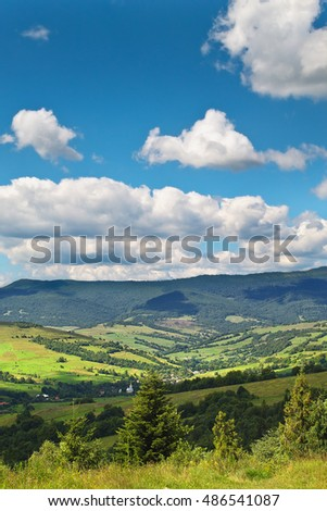vertical landscape with views of the Carpathian Mountains