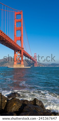 Vertical panorama of Golden Gate Bridge in San Francisco, California.