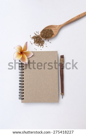 Vertical style spice theme with blank notebook on white background