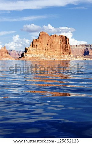 Vertical view on the Lake Powell, USA