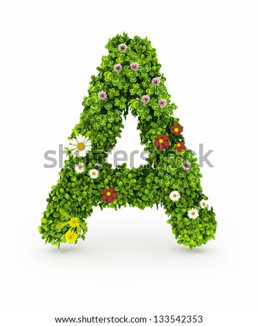 Very Nice Floral Alphabet.Letters made of flowers and grass