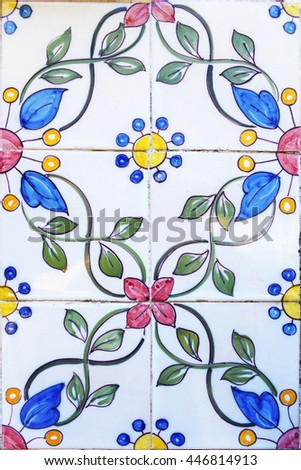 Very old colorful hand painted tiles