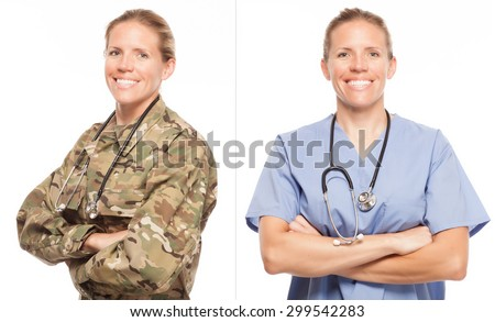 VETERAN SOLDIER | MILITARY TRANSITION TO CIVILIAN WORKPLACE | Female Army doctor or nurse in uniform on white background.  Military to civilian transition showing woman in scrubs.