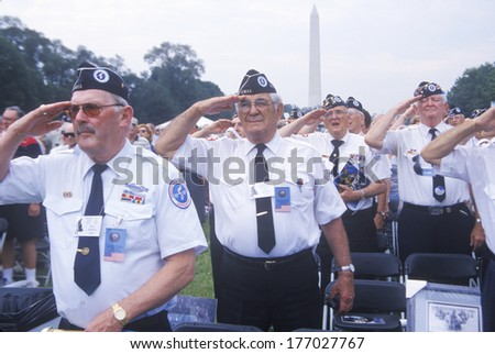 Veterans of Korean War Saluting, Korean War 50th Anniversary, Washington, D.C.