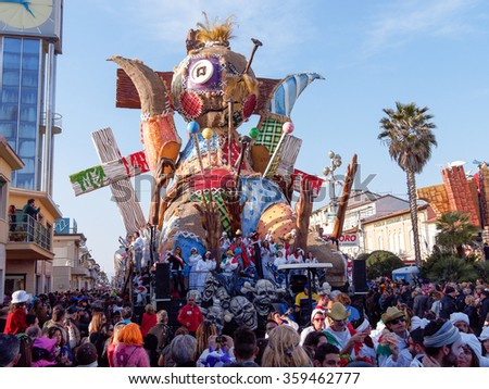 VIAREGGIO, ITALY - FEBRUARY 23:   allegorical float at Viareggio Carnival held February 23, 2014