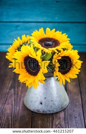 Fresh Sunflower Flowers Rustic Antique Vase Stock Photo 218521219 Shutterstock
