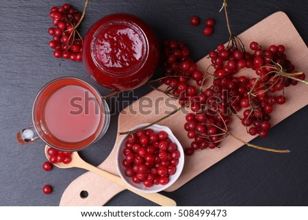 Viburnum (viburnum opulus) berries with hot tea and jam on black background