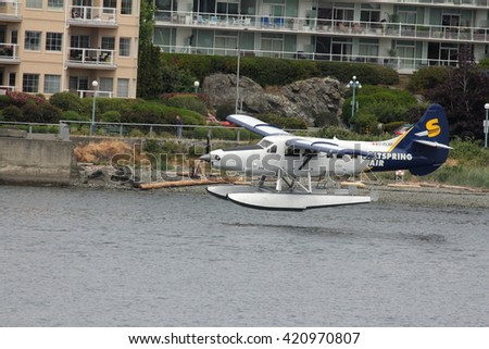 VICTORIA, BC, CANADA - MAY 15 2016: Seaplane is landing in the harbor of Victoria,BC,Canada