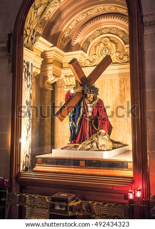 VICTORIA, MALTA - JULY 19: Statue of Jesus in church at Citadel on July 19, 2015 in Victoria
