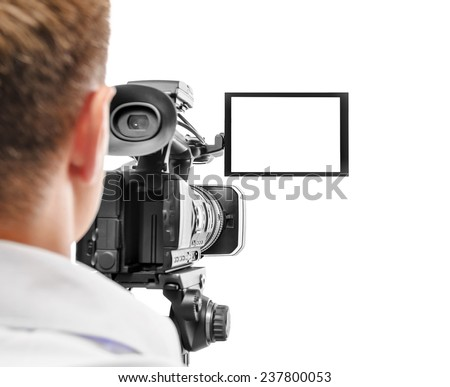 Video camera operator isolated on white background. Focus on screen.