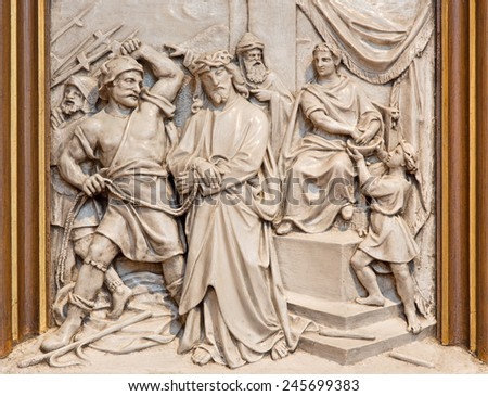 VIENNA, AUSTRIA - DECEMBER 17, 2014: The Jesus from Pilate relief as one part of Cross way cycle in Sacre Coeur church by R. Haas from end of 19. cent.