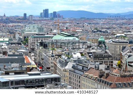 Vienna, Austria, Europe - aerial view from Cathedral's tower (cityscape).