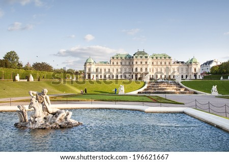 VIENNA, AUSTRIA - MAY 3: The Fountain in Belvedere Gardens on May 3, 2014 in Vienna. The Upper and Lower Belvedere palaces with their gardens are one of the world�s finest Baroque landmarks.