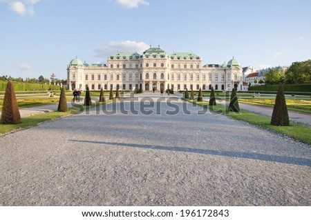 VIENNA, AUSTRIA - MAY 3.: The Upper Belvedere on May 3, 2014 in Vienna. The Belvedere, one of the most important Baroque buildings in Austria, consists of two palaces-Upper and Lower Belvedere.