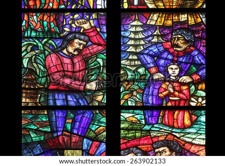 VIENNA, AUSTRIA - OCTOBER 11: Asia window, Stained glass in Votiv Kirche (The Votive Church). It is a neo-Gothic church located on the Ringstrabe in Vienna, Austria on October 11, 2014