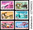 VIETNAM - CIRCA 1974: A set of postage stamps printed in VIETNAM shows Vietnamese people's war with USA, series, circa 1974 - stock photo