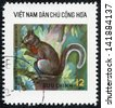 VIETNAM - CIRCA 1980: A stamp printed in Vietnam shows squirrel, series is devoted to wild animals, circa 1980 - stock photo