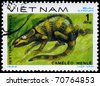"""VIETNAM - CIRCA 1983: A Stamp printed in VIETNAM shows the image of a Meller's Chameleon with the description """"Chamaeleo melleri"""" from the series """"Reptiles"""", circa 1983 - stock photo"""