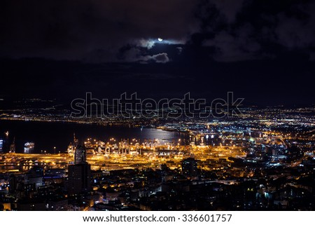 View at night from Mount Carmel to Haifa Port in Israel. Mediterranean Sea