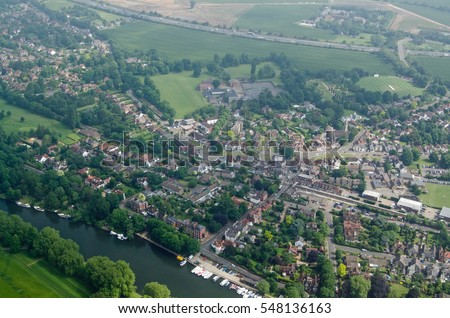 View from a plane of the village of Datchet, Berkshire.  The historic village lies on the banks of the River Thames near Windsor and has the M4 motorway running to the north.