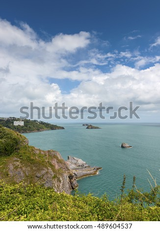 View from Daddy Hole, Torquay, South Hams, Devon, UK,