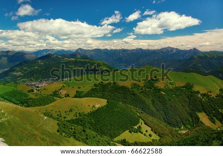 View from Monte Generoso down to Lugano and its lake in Switzerland