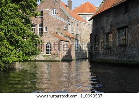 View from the boat on Brugge water canal, Belgium