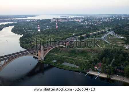 View from the top of the new bridge crane at a height of 200 meters, Zaporozhye, Dnieper, Ukraine