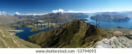 View from wanaka lake from the summit of Rob Roys peak