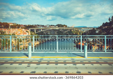 View of a Porto bridge from Luis I bridge.