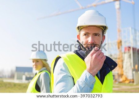 View of a team of two workers on a construction site